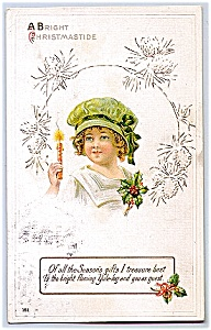 1914 Cute Child, Hat, Candle And Holly Greeting