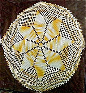 Pretty Bronze and White Crocheted Doily (Image1)