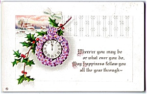 1914 Violets & Holly on New Year Clock (Image1)