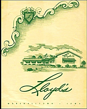 Lloyd's Restaurant Vintage Dinner Menu, Marshalltown, Ia 1950s