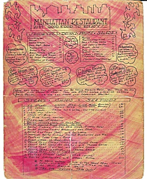 Manhattan Restaurant Vintage Menu, Circa 1960