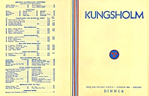 Kungsholm Middag (Swedish Dinner) 1940 Vintage Menu, Chicago Il