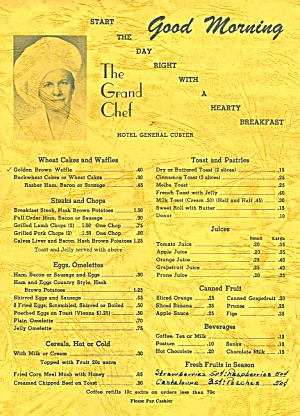 1960s Hearty Breakfast Menu: Hotel General Custer, Michigan