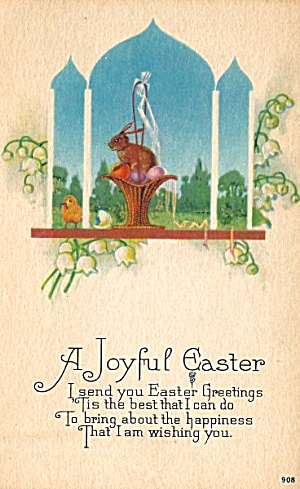 Easter Bunny & Basket In Church Window Postcard