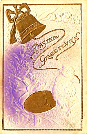 1909 Chick, Pretty Gold Bell, Embossed Postcard