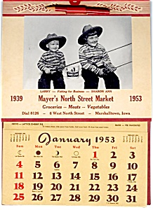 1953 Calendar, Kids Fishing, Rath Lard Tin
