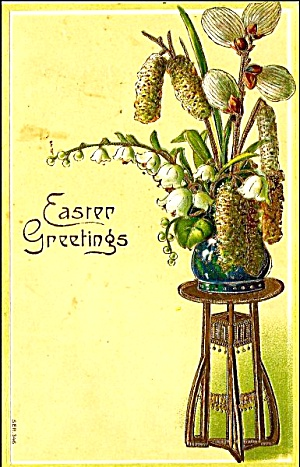 Lovely 1909 Easter Greetings Postcard