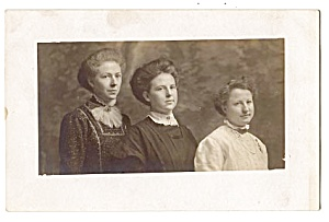Mother, Daughters, 1900s Real Photo