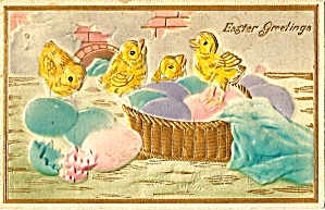 1914 Embossed Chicks, Colored Eggs Postcard (Image1)