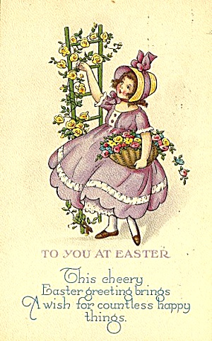 Cute Girl, Cheery Easter Greetings 1925 Postcard