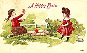 Cute Girls Gathering Easter Eggs, Postcard