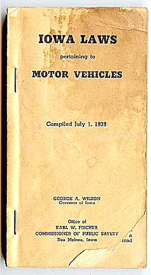 1939 Iowa Motor Vehicle Laws