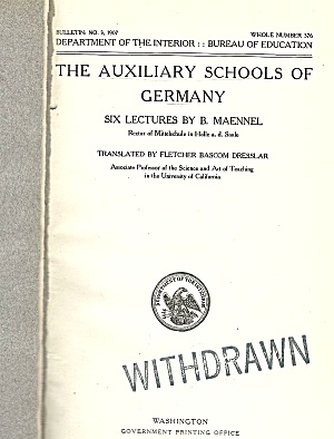 1907 Auxiliary Schools Of Germany
