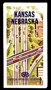 1960s Aaa Kansas-nebraska Road Map
