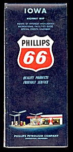1960s Phillips 66 Iowa Road Map