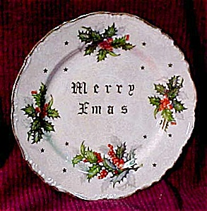 Merry Xmas Holly Luster Plate