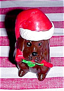 Santa Dog Figurine With Candy Cane