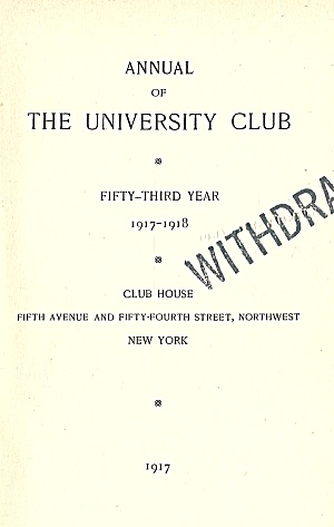 1917-18 University Club Annual; Private NYC Club (Image1)