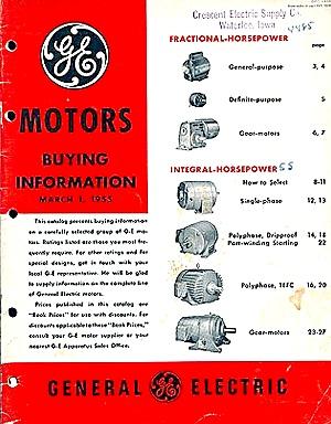 1955 G-E Electric Motors Catalog (Image1)