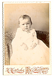 Vintage Cabinet Photo: Sad-Looking Baby, Manitowoc   (Image1)