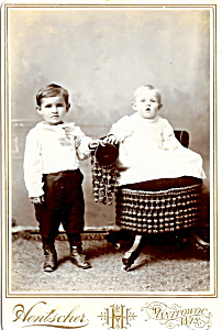 Vintage Cabinet Photo: Two Formally-dressed Children, Wisconsin