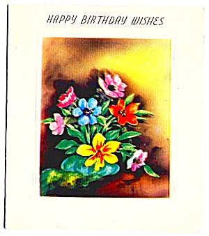 Happy Birthday Wishes, Pretty Flower Bouquet; WWII era Greeting (Image1)