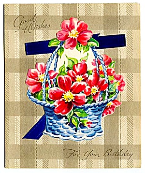 Pretty Basket, Bright Pink Flowers, Real Ribbon on WWII era Birthday Card (Image1)