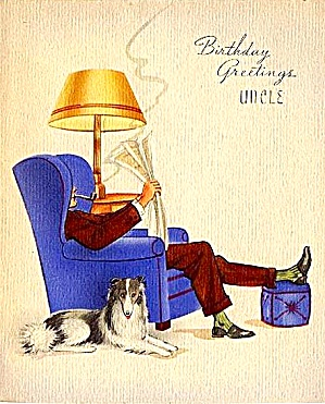Birthday Greetings Uncle Easy Chair Newspaper Pipe Dog Wwii Era Unused Card
