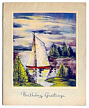 Birthday Greetings, Sailboat and Pines (Image1)