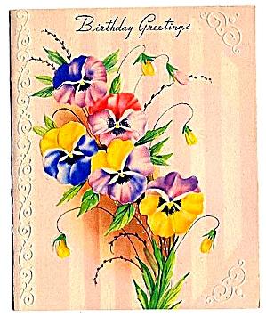 Pansies, Pansies, Pansies!  Birthday Greetings, WWII era  (Image1)