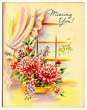 Pretty Little 'Missing You' Card, WWII Era (Image1)