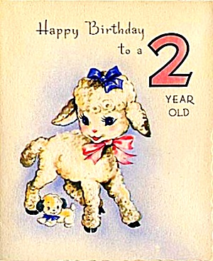 Tiny Puppy, Cute Lamb, Two-Year-Old Birthday Greeting, WWII Era, MARCHANT (Image1)
