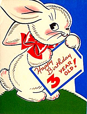 Happy Birthday 3 Year Old Bunny Red Ribbon WWII Era Greeting Card