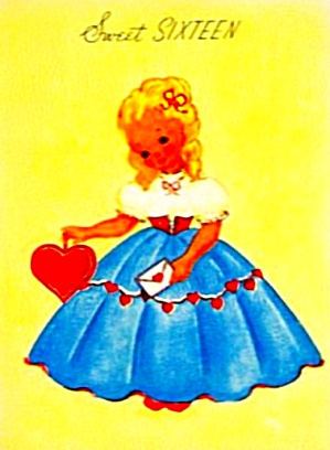 Sweet 16 Birthday Card, WWII Era; Pretty Girl, Full Dress Holding Heart; CASTLE CRAFT (Image1)