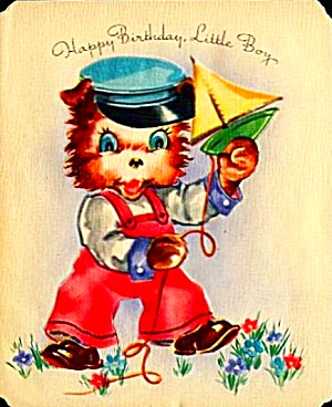 Little Sailor Birthday Puppy, Toy Sailboat on WWII Era Greeting, MARCHANT (Image1)