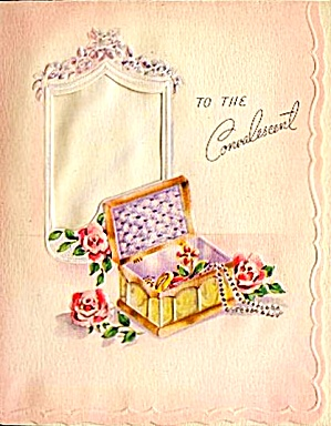 Dainty 'To The Convalescent' Roses, WWII Era Card; Jewelry Box,Mirror (Image1)