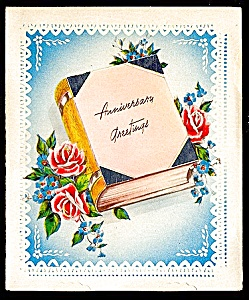 Silver Anniversary Roses and Book, WWII Era Greetings (Image1)