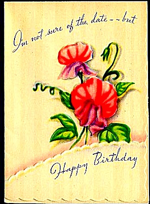 Not Sure of Date, but Happy Birthday Embossed WWII era Greeting Card (Image1)
