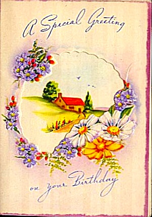 Dainty Daisies, Violets on Special Birthday Greeting, WWII Era (Image1)