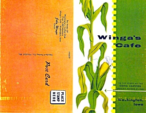 Winga's Caf�, Washington IA, 1950s Postcard Menu  (Image1)