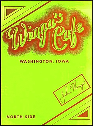 Winga's Cafe, Washington IA, Vintage Menu (Image1)