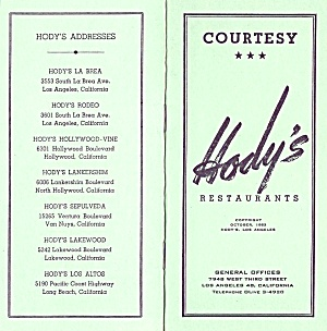 Employee Courtesy Booklet, Hody's Restaurants 1953