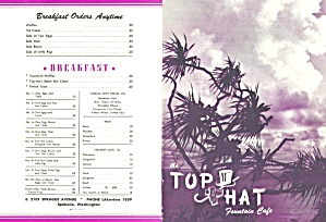 Top Hat Fountain Café, Spokane, Vintage Menu 1940s