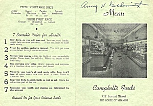 Campbell's Foods, Des Moines, Health Foods Menu 1950