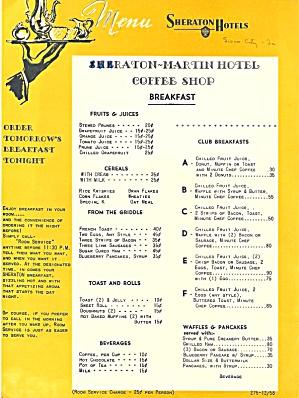 Sheraton-Martin Hotel Coffee Shop, Breakfast Menu 1958 (Image1)