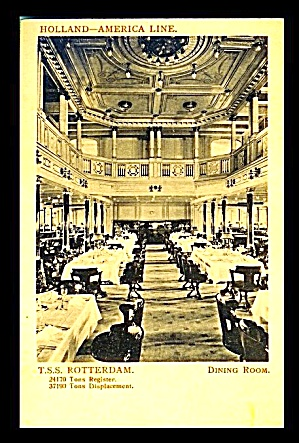 T.S.S.Rotterdam 1930s Dining Room Postcard (Image1)