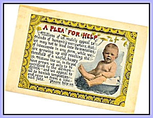 Plea For Help - Baby, Prohibition Postcard
