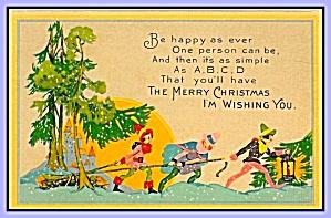 A,B,C,D Merry Christmas Card, 1930s (Image1)