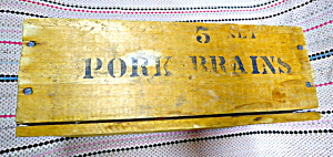 Pork Brains Vintage Wood Meat Box, 1950s