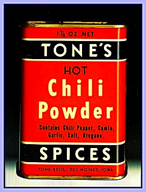 Tone's Spices Chili Powder, Vintage Tin